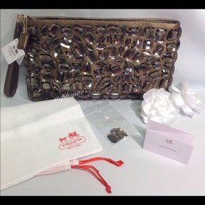 COACH MADISON JEWELED CLUTCH PURSE BROWN Large bag